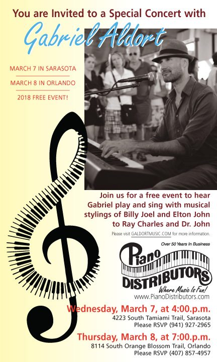 FREE concert featuring Gabriel Aldort: Wednesday, March 7, at 4 p.m., in Sarasota. Call 941-927-2965 to RSVP.  And, Thursday, March 8, at 7 p.m., in Orlando. Call 407-857-4957 to RSVP. See you there!